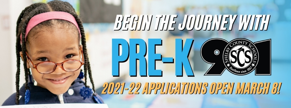 2021-22 Pre-K Applications Open March 8 banner